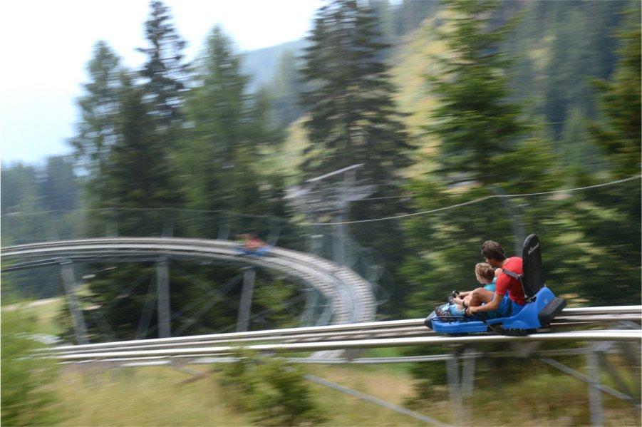 Alpine Coaster Gardonè, slittovia su rotaia, a Predazzo in val di Fiemme, Trentino